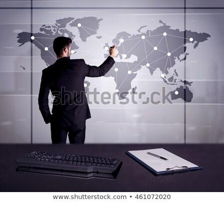 üzletember rajz világtérkép fiatal irodai dolgozó kapcsolódik Stock fotó © ra2studio