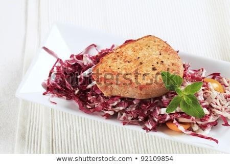 Marinált disznóhús piros káposzta friss saláta Stock fotó © Digifoodstock