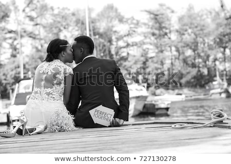 ロマンチックな · カップル · キス · 日没 · ビーチ - ストックフォト © artfotodima