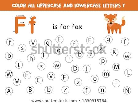 lettre · f · Fox · enfants · art · éducation · écrit - photo stock © bluering