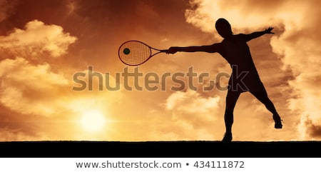 Stock photo: Composite image of female athlete playing tennis