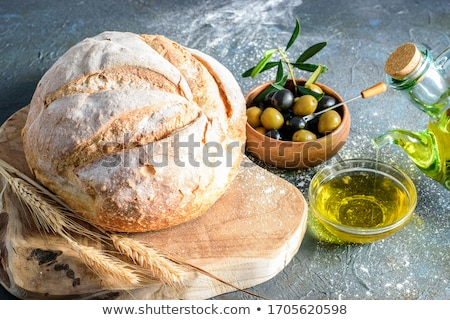 trigo · harina · polvo · mesa · de · madera · blanco · frescos - foto stock © -baks-