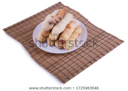 Lezzetli taze sosisli sandviç kruvasan renkli Stok fotoğraf © ozgur