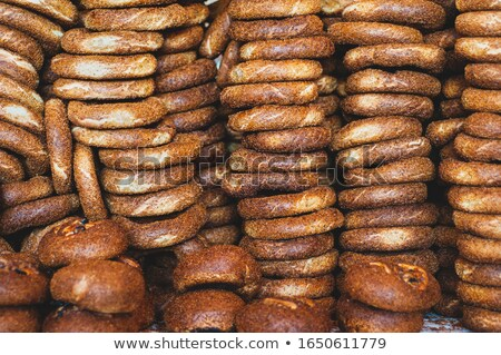 Stock photo: Ring of assorted gourmet fresh bagels