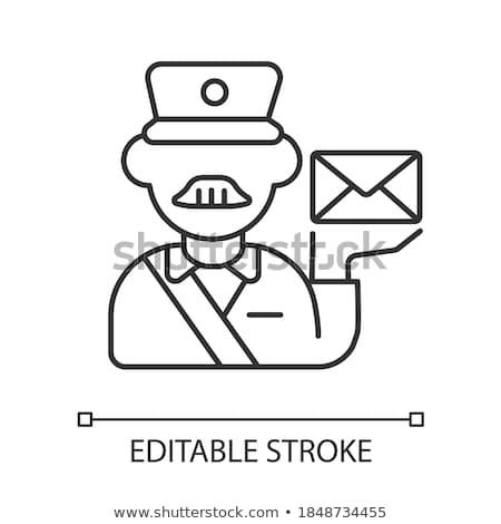 Zdjęcia stock: Proste · rysunek · listonosz · ilustracja · biały · biuro