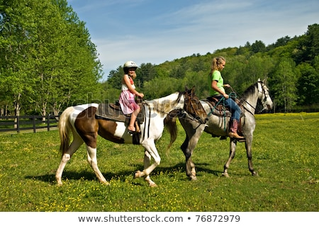 Happy woman cowgirl smiling and riding horse Stock photo © deandrobot