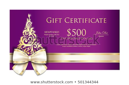 luxury violet christmas gift certificate with cream ribbon and gold ornmament christmas tree stock photo © liliwhite