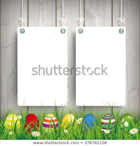 húsvét · kártya · díszített · tojás · arany · keresztény - stock fotó © beholdereye