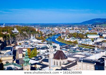 Stock photo: Salzach River in Salzburg, Austria. Famous place (Unesco Heritage) Festung Hohensalzburg, Salzburger