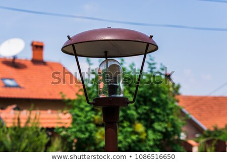 beautiful view on vintage lamp post on the trees background stock photo © massonforstock