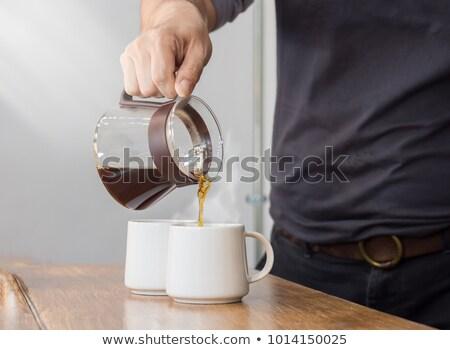 Siyah kahve fincan rustik ahşap Stok fotoğraf © nessokv