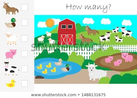 Molti animali stagno illustrazione cavallo panorama Foto d'archivio © bluering