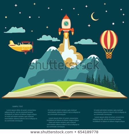 Imagination concept, open book with a mountain, flying rocket, air balloon and airplane  Stock photo © Andrei_