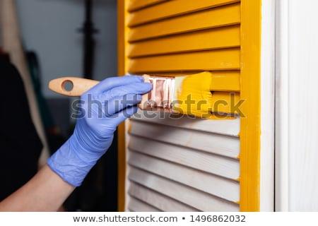 Roxo luvas de borracha branco par fitness limpeza Foto stock © wavebreak_media