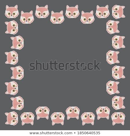 Stockfoto: Bruin · vos · blij · gezicht · illustratie · glimlach · kunst