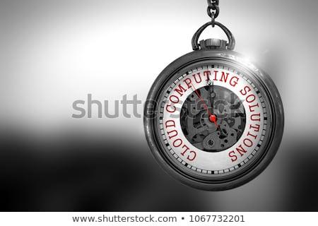 Nuvem tecnologia relógio de bolso cara ilustração 3d vintage Foto stock © tashatuvango