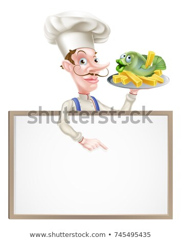 cartoon · poissons · puces · chef · illustration · alimentaire - photo stock © krisdog
