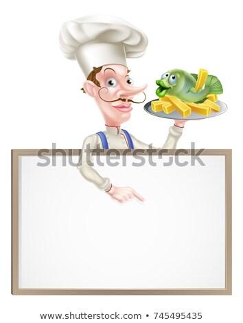 Szakács tart hal sültkrumpli mutat felirat Stock fotó © Krisdog