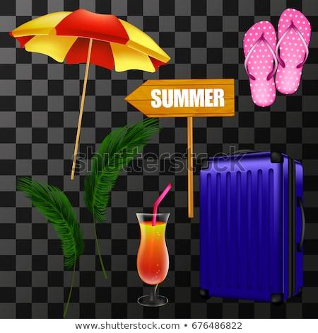 Heldere parasol 3D ingesteld kleurrijk strand Stockfoto © kup1984