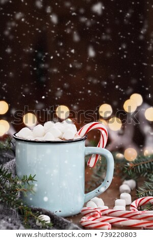 Hot Cocoa with Mini Marshmallows with Falling Snow Stock photo © StephanieFrey