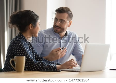 Hindu businessman using laptop. Stock photo © RAStudio