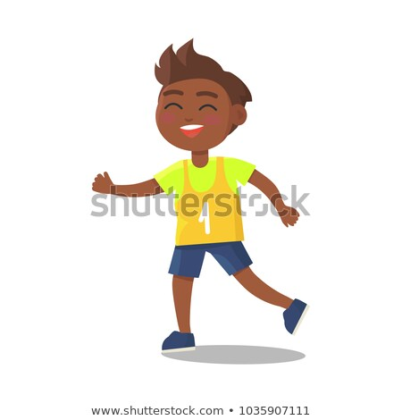 Indian Schoolboy in Sport Uniform with Number One Stock photo © robuart