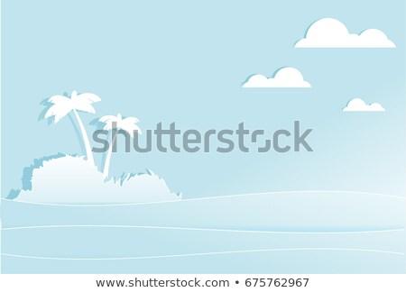 Тропический остров пальмами средний морем белый бумаги Сток-фото © orensila
