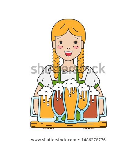 beautiful young woman waiter holding tray with beer oktoberfest german beer festival stock photo © orensila