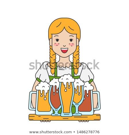Mooie jonge vrouw De ober dienblad bier Stockfoto © orensila