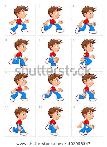 Animatie lopen jongen twaalf frames vector Stockfoto © ddraw