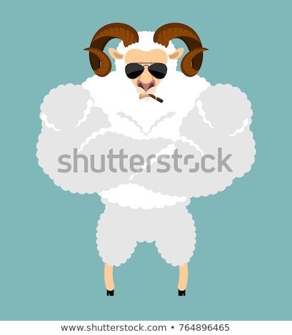 Ram Strong Cool serious. Sheep smoking cigar emoji. Farm animal  Stock photo © popaukropa