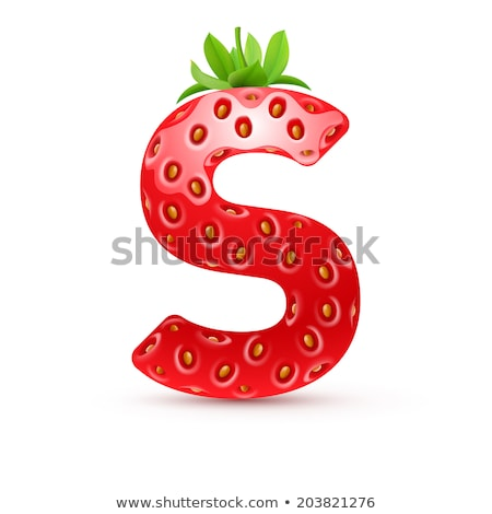 Letter S Strawberry font. Red Berry lettering alphabet. Fruits A Stock photo © popaukropa