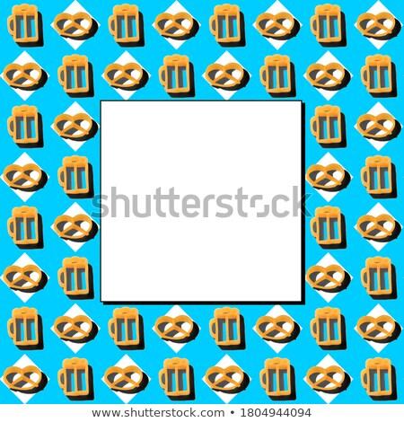 Stock fotó: Traditional Oktoberfest Seamless Pattern Of Rhombus Mug Of Beer