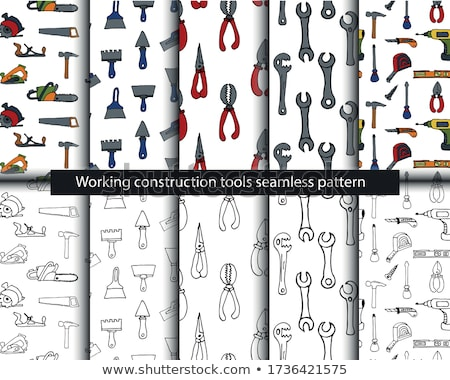 Tools seamless pattern. Drill and hammer, screwdriver and a plan Stock photo © popaukropa