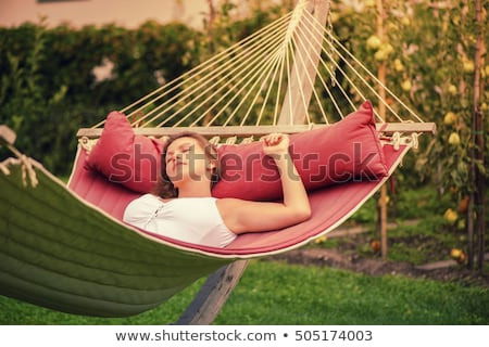 Urlaub · Mädchen · Hängematte · ruhend · entspannenden · lächelnd - stock foto © is2