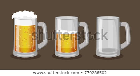 Beer mugs with foam set in cartoon style Stock photo © studioworkstock