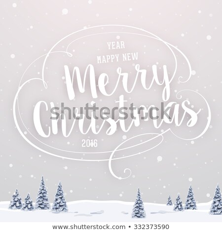 Vector Christmas illustration with typographic design and ribbon on landscape background. Stock photo © articular