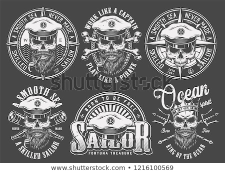 Neptune Skull Trident Crown Retro Stock photo © patrimonio