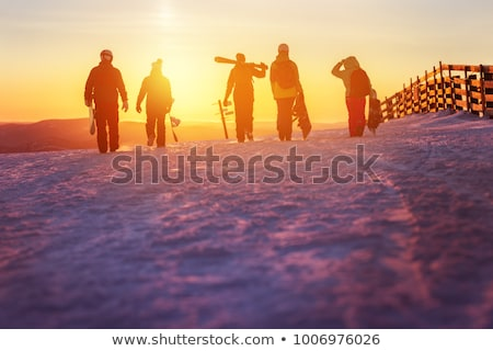 Friends walking on skis Stock photo © IS2