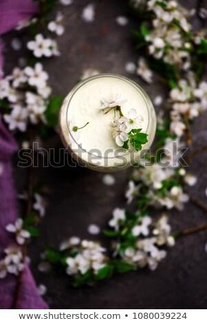 Ameixa flor mel vidro primavera café da manhã Foto stock © zoryanchik