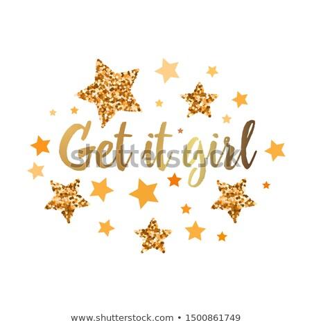 Get it girl - hand drawn glitter lettering phrase about feminism Stock photo © balasoiu