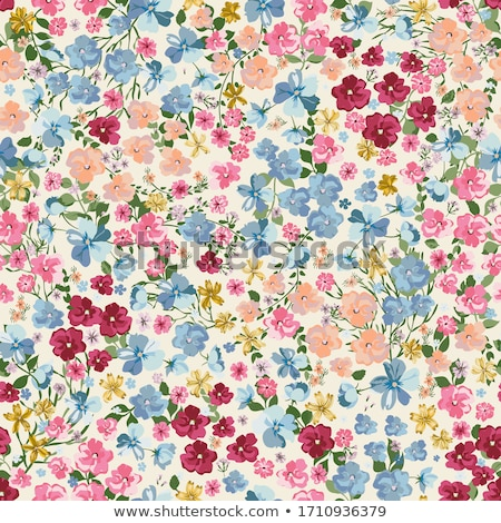 Stockfoto: Meadow Vintage Flowers And Branches Seamless Vector Pattern