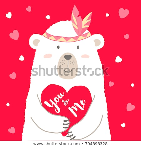 Cute Panda Bear Cartoon Mascot Character Holding A Valentine Love Heart With Text Be Me Stock photo © hittoon