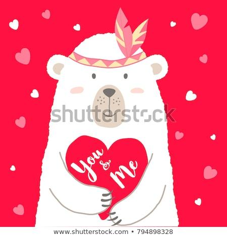 cute · panda · hart · Valentijn · liefde - stockfoto © hittoon