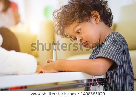 Stockfoto: Jongen · leren · schrijven · nummers · primair · klasse