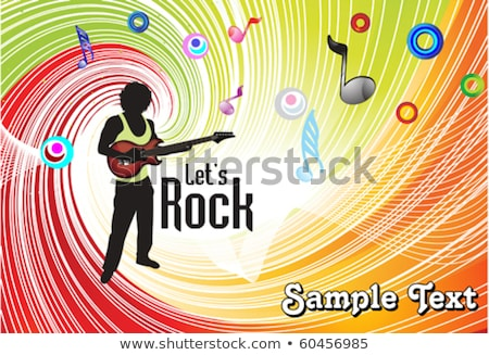 Stock photo: abstract musical wave with shillouts