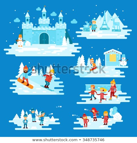 Stock fotó: Ice Castle In The Mountains Vector Illustration
