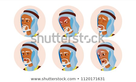 old arab avatar icon man vector traditional clothes facial emotions round portrait cute employer stock photo © pikepicture
