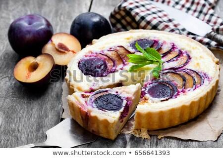 szilva · pite · házi · készítésű · sütés · edény · rusztikus - stock fotó © melnyk