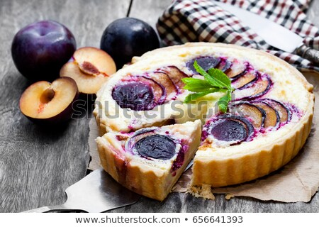 Piece of plum pie with crumble. Stock photo © Melnyk